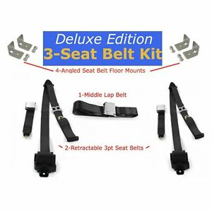 68-72 Chevrolet C10 Truck Complete Seat Belt Kit 3pt Black Retractable Airplane