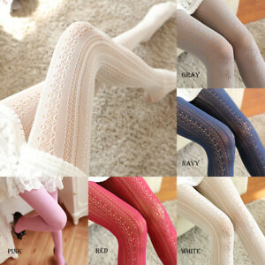 Womens Lolita Cute Girl Lace Jacquard Hollow Patterned Pantyhose Tights Stocking