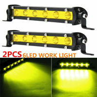 """2X 7"""" 18W 6LED Work Light Bar Spot Driving Lamp For 4WD Offroad Car SUV Boat"""