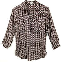Anthropologie Pleione Womens Top Blouse Size S Small Print Shirt Long Sleeve