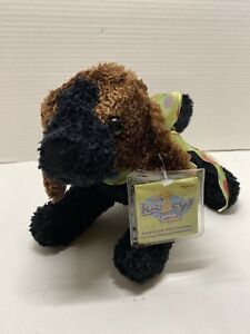 "Brown Black Kookey Puppy Dog Unlock the Fun 11"" Plush Stuffed Toy With Key"