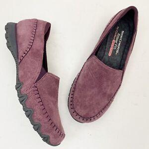 SKECHERS Alumni Purple Suede Slip Ons Sneakers - Size 8.5W