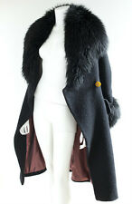 VIVIENNE WESTWOOD Black Wool Fitted Coat With Fur Collar, size 40