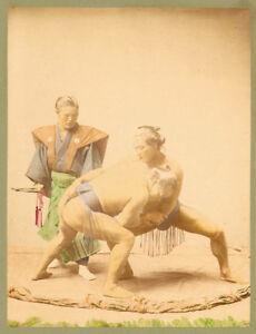 Giappone Lottatori di Sumo Foto originale colorata a mano Stillfried 1880c XL368