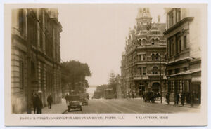 WESTERN AUSTRALIA - Perth Trams Barrack St -  Real Photo Postcard c1920s