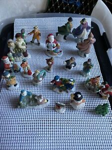 Holiday Inspirations Christmas Village Accessory Figurines Porcelain - Lot Of 20