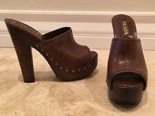 PRADA Brown Leather Nailhead Studded Open Toe Wood Platform Heels 38.5 8M NEW!!!