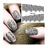 Nail Art Water Decals Stickers Black Peacock Feathers Flowers Gel Polish (7321)