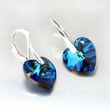 925 Silber Ohrringe mit Swarovski® Kristall Herz 14mm Ohrhänger Farbwahl