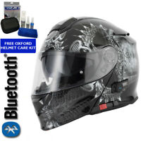 VCAN BLINC V271 BLUETOOTH FLIP FRONT MOTORCYCLE  HELMET MP3 SAT NAV DROGON
