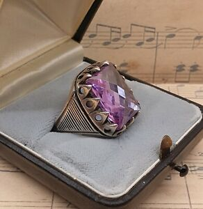 Vintage Men's 925 Sterling Silver Original 1970s Huge Amethyst Ring with Box
