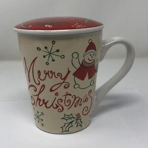 "Merry Christmas Ceramic Coffee Mug Tea Cup  With Ceramic Lid Snowman Red 4.5"""