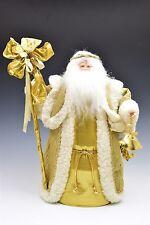 "Santa Claus Figurine Ornate Gold Robe w/ Faux Fur Tree Topper 16"""