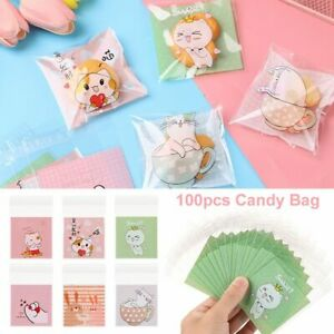 Party Supplies Candy Bag Cute Cat Design Plastic Cookie Pocket Self-Adhesive