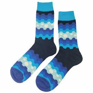 NWT Blue Wave Pattern Dress Socks Novelty Men 8-12 Blue Fun Sockfly