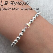 STERLING SILVER 925 BEADED STRETCH STACKING BRACELET WITH CRYSTAL BEAD