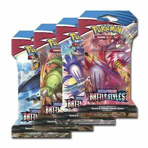 Pokemon TCG Battle Styles Sleeved Booster Pack LOT OF 4 PACKS FACTORY SEALED