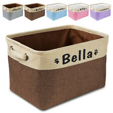 Jute Dog Toys Storage Basket Bin Personalised Pet Name Canvas Clothes Store Box