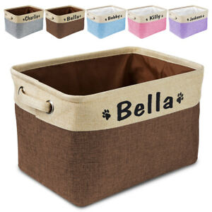 Dog Toy Fabric Storage Basket Container with Personalized Dog Name & Two Handles