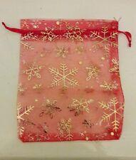 Rosso e Dorato Natale Organza Borsa - 12 cm da 16 cm