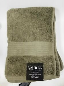 "NEW RALPH LAUREN GREENWICH ROSEMARY OLIVE GREEN COTTON BATH,BEACH TOWEL 30""x56"""