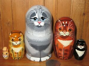 SLIGHT SECONDS Grey Cat Ginger Black Tabby Kitten Russian small Nesting Dolls 5