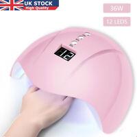 USB 36W 12Leds Nail Lamp UV Nail Gel Dryer Manicure Machine Sung Light Sensor UK