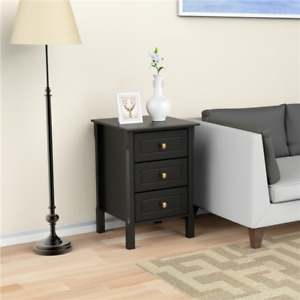 Set of 2 End Table Storage Nightstand with 3 Drawers Sofa Side Table