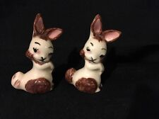 "Vintage Ceramic Bunny/Rabbit Pair Figurines Easter Hand Painted 3.25"" Tall"