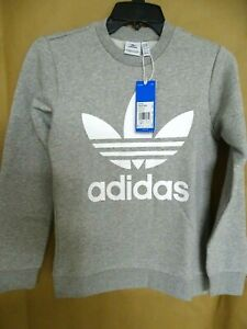 NEW adidas Big Boys Logo Graphic Sweatshirt S, M Fleece Grey/White Trefoil Logo