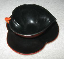 Antique/Vintage Czech China Tea Set Poker Suit Red/Black - Tea Cup - Spade - 1/2
