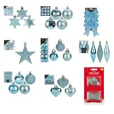 Ice Blue Christmas Tree Ornaments Hanging Baubles Star,Heart,Drops, Xmas Decor