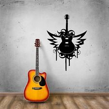 Wall Stickers Vinyl Decal Music Guitar Rock Music Lover Wings (ig500)