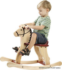 VOILA TOY sturdy wooden ROCKING HORSE natural tones CHILD's GIFT *BRAND NEW
