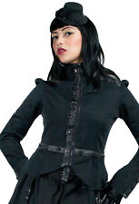 Living Dead Souls Black Button Military Gothic Zip High Collar Coat Jacket