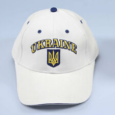 Ukrainian Ukraine White Cap Hat Embroidered Tryzub Flag Coat of Arms