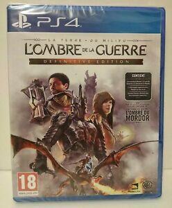 LA TERRE DU MILIEU : L'ombre de la guerre Definitive Edition PS4 Region Free NEW