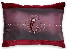 Aubergine Velvet & Faux Silk Sequin Embroidered Filled Boudoir Cushion 30x50cm