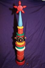 """Vintage Russian wood clock tower puzzle with finial  BERIOZKA 17 3/4"""" TALL 1970s"""