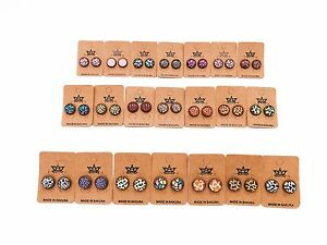 Xmas Sakura  Pattern/Prints Design Vintage Stud Earrings Round Glass Cabochon