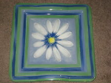 """glass tray 12"""" square blue green stunning"""