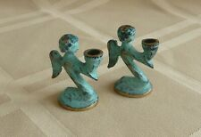 Vintage Miniature Angels - Green Brass Single Candle Holders Made In W. Germany