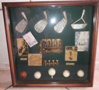 COLLEZIONE IN BACHECA VINTAGE MAZZE/PALLE /GOLF SQUARE BOARD GOLF BALLS