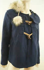 JUICY COUTURE Women's Navy Blue Wool Blend Faux Fur Trim Hooded Winter Jacket M