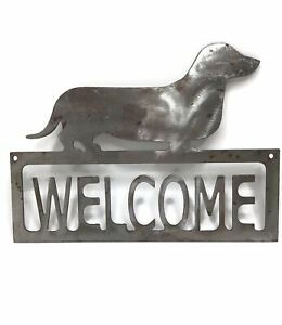 """Metal Sign """"Welcome"""" with Dachshund Dog Handcrafted ~11 x 8.5"""""""