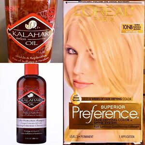 2 PACK : 1 LOreal Paris Hair Color UN BLONDE, & 1 HASK Color Protection Shampoo.
