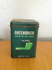 Greenbrier Pipe Tabacco Tin Vintage Union Made U.S.A. 7oz. Mild Menthol