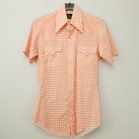 RETRO Mens Vintage Shirt 70s Big Pointy Collar Western Snap SMALL SLIM Gingham