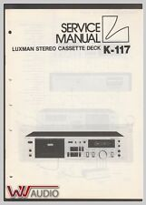 Luxman K-117 Cassette Deck Service Manual