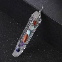 Natural 7 Chakra Stone Wire Wrap Healing Crystal Quartz Gemstone Wand Reiki AU